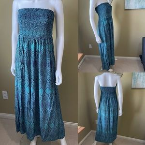 Smocked Strapless Teal Maxi Dress